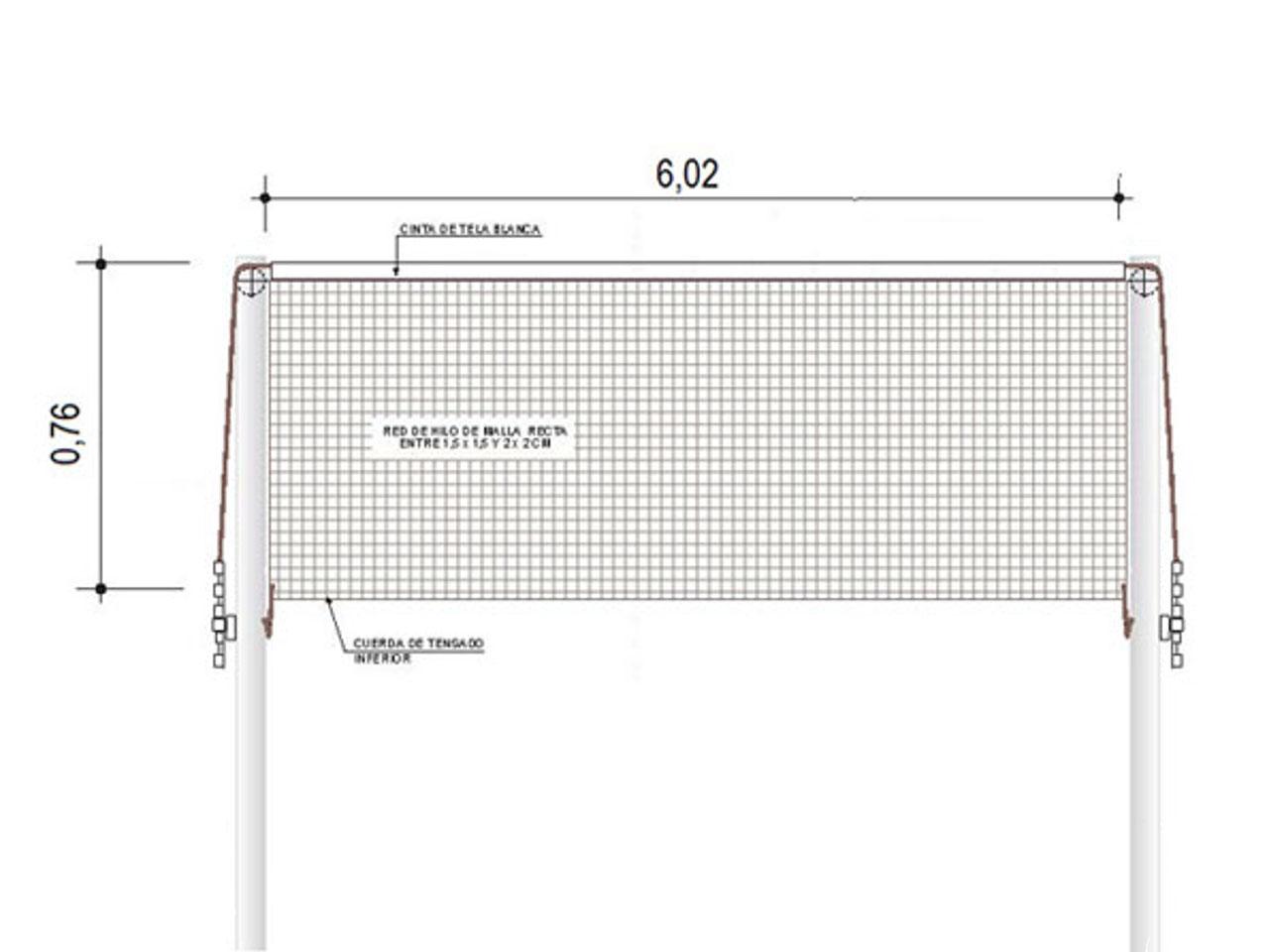 Medidas de la red y los postes de bádminton